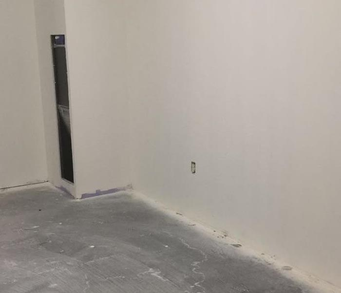 Commercial water damage in unfinished dorm Before